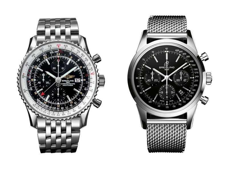 Breitling Navtimer (left) and Breitling Transocean (right)
