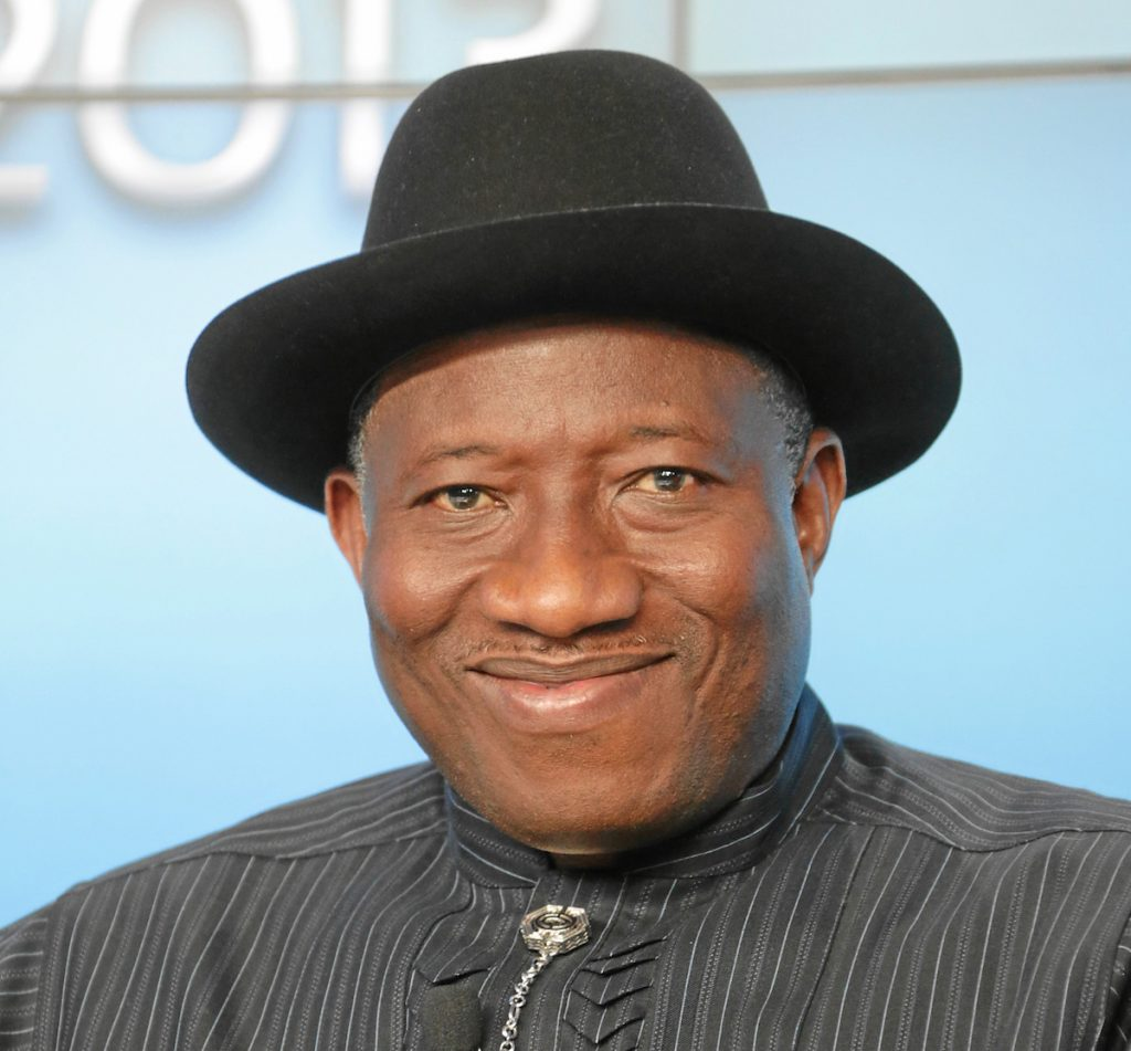 Goodluck Ebele Jonathan, at the Annual Meeting 2013 of the World Economic Forum in Davos, Switzerland, January 23, 2013.