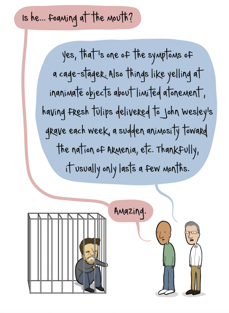 "A very funny bit by cartoon Adam4d, about ""Cage Stage Calvinists."""