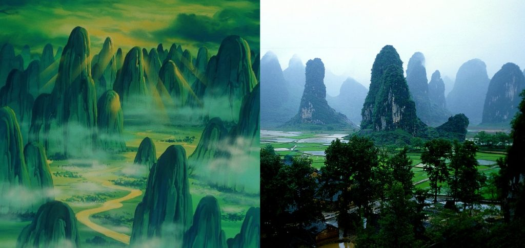 Mount Poazu DBZ (left), Guilin mountains in China (right)