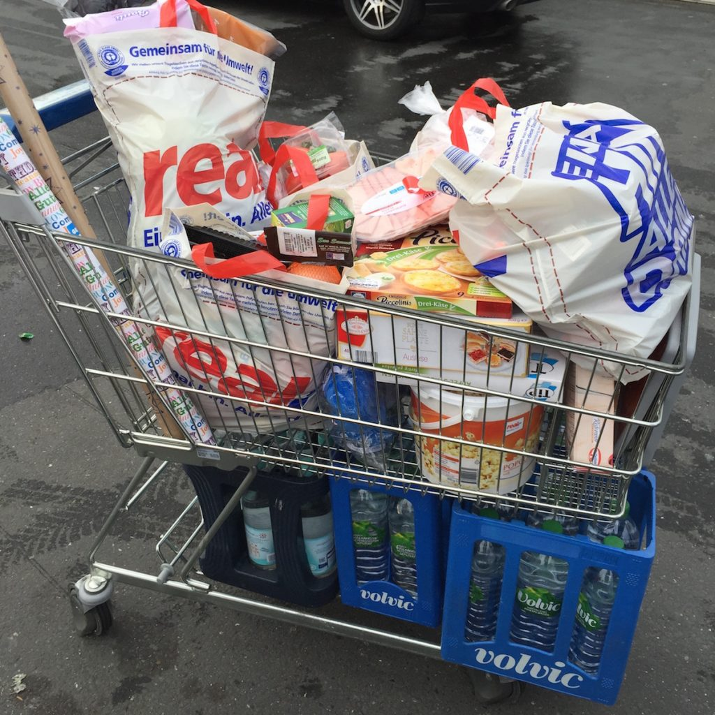 Our shopping cart on Christmas Eve, in Köln